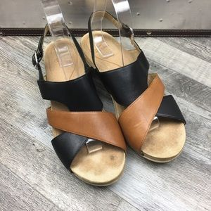 Dansko Black & Brown Leather Sandal Size 10